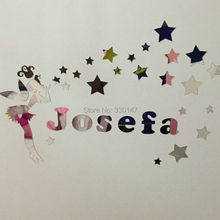 New Arrival Fairy Girl with Stars Surround Name Customization Wall Sticker Room Kid's Acrylic Mirror Surface Glistening Gift(China)