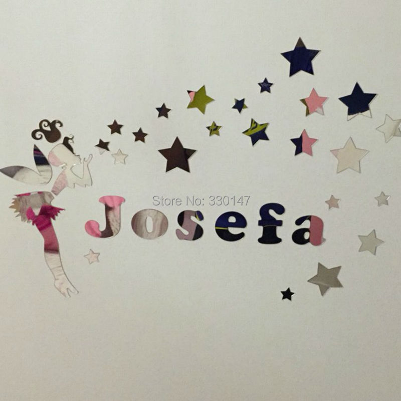 New Arrival Fairy Girl with Stars Surround Name Customization Wall Sticker Room Kids Acrylic Mirror Surface Glistening Gift ...