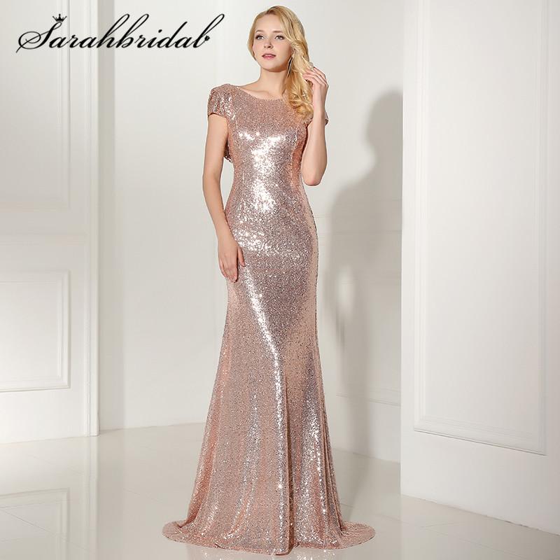 Seal Spin роза золото Blast вечерние платья Cap рукава русалка длинные дешевые вечерние платье праздничное платье Лонго sd347