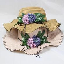 BINGYUANHAOXUAN Sun Hats Fashion Cute Sun Flower Hats Hand-made Wide Brim Wave Summer Straw Hat Women Beach Hat catalog sun wave