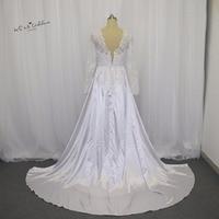 White Berta Russian Style Long Sleeves Lace Bridal Dresses V Back Satin Detachable Skirt Wedding Gowns Vestido De Noiva Vintage