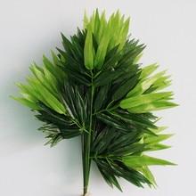 12 шт. шелковая ткань искусственные листья бамбука Зеленые искусственные растения имитация бамбука ветви для домашнего офиса Свадебные украшения