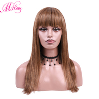 Ms Love Human Hair Wigs With Bangs Brown Non Lace Wig Brazilian Straight Hair Wigs Average Lace Size