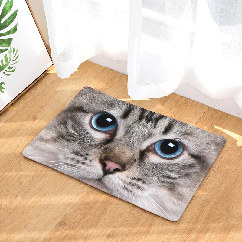 Cute Cat Puppy Print Floor Mats Bedroom Carpet Anti-slip Kitchen Toilet Doormat Profit Small Yard & Garden Decor