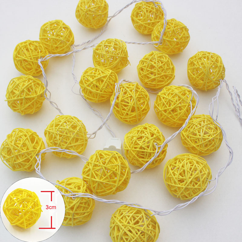 AC/Battery LED Christmas Outdoor String Light 20 Yellow Rattan Balls Wedding Fairy Holiday Garden Room Decor Garland Light