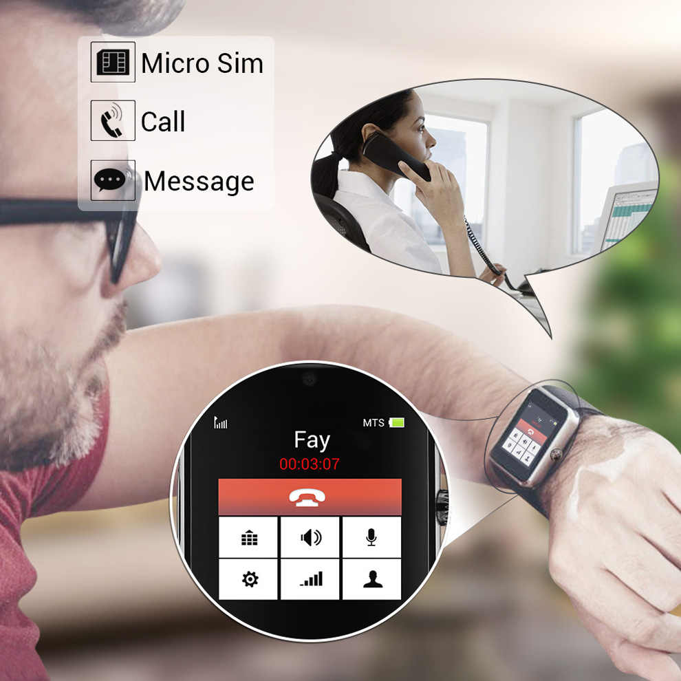 Slimy Smart Watch GT08 Clock With Sim TF Card Slot Push Message Bluetooth Connectivity for Android Phone Smartwatch Metal Strap