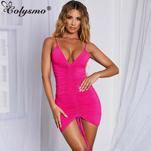Colysmo Sexy Summer Dress 2019 Spaghetti Straps Backless Pleated Ruched Dress Woman Party Night Club Tight Slip Dresses Vestidos(China)