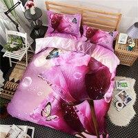 New Purple Rose Imprimir Conjunto de Cama 3D 100% Algodão Capa de Edredão conjunto de 4 Peças Rainha King Size Quilt Cover Folha de Cama Fronha