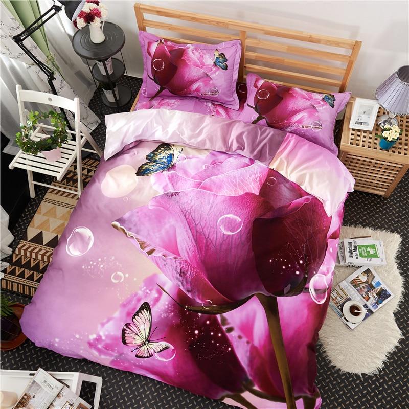 New Purple Rose Print Bedding Set 3D 100% Cotton Duvet Cover Set 4 Pieces Queen King Size Quilt Cover Bed Sheet Pillowcase