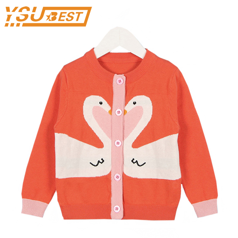 1-6yrs Baby Girls Swan Cardigan Sweater Children Outerwear & Coats New 2017 Autumn Sweater Fashion Kids Knit Coat Girls Cardigan