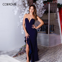 COLROVIE Navy Solid V Neck Strapless Ruffle Asymmetric Party Dress Women Autumn Sexy Dress Vintage Evening Maxi Dresses
