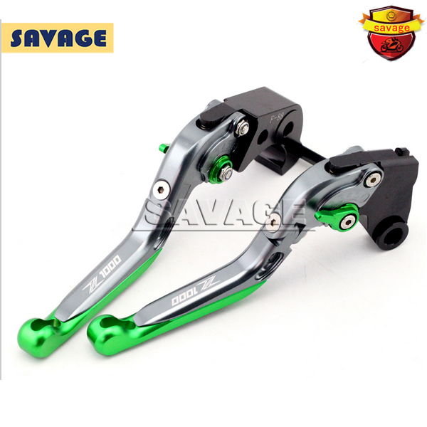 ФОТО For KAWASAKI Z1000 2007-2016 Titanium+Green Motorcycle Accessories CNC Adjustable Folding Extendable Brake Clutch Levers
