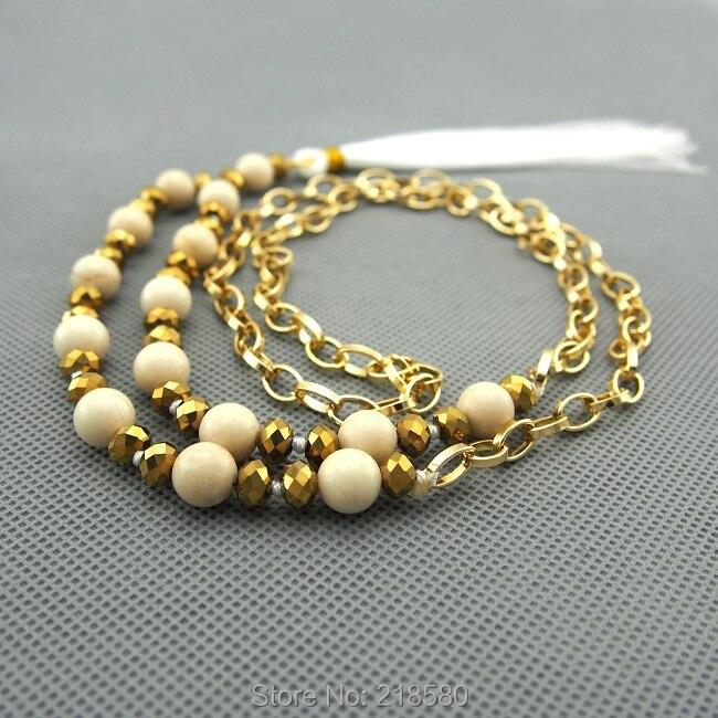 C150101016 с принтом из бежевых камней бисер белая кисточка ожерелье Золотая цепочка, колье 30 дюймов