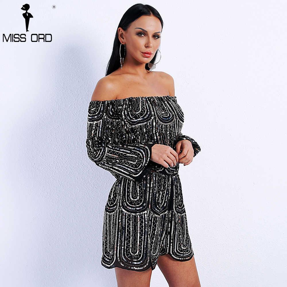 908c3c5a8d57 ... Missord 2019 Sexy Spring And Summer Off Shoulder Long Sleeve Sequin  Romper Irregular Side Playsuit FT9020 ...