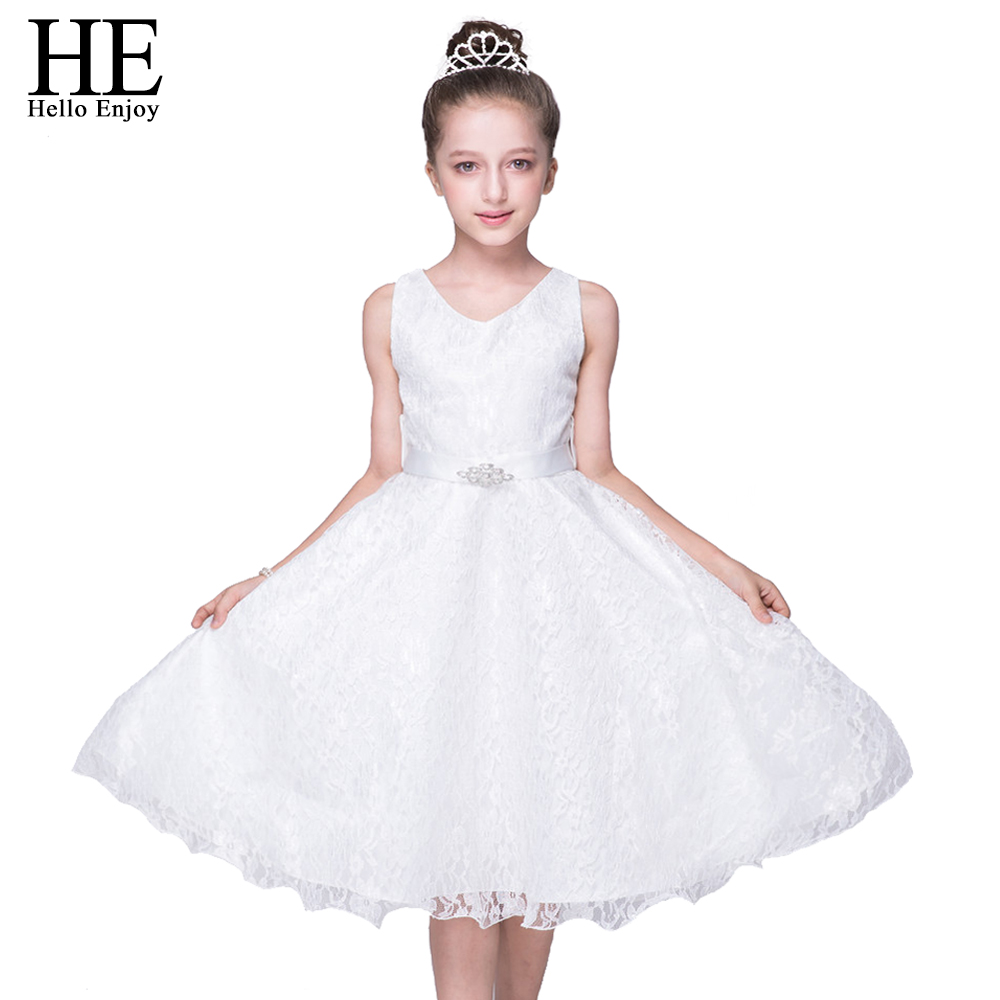 girls dress kids clothes dress for girl summer Sleeveless white lace belt dress Birthday party wedding princess dress 4-12 years