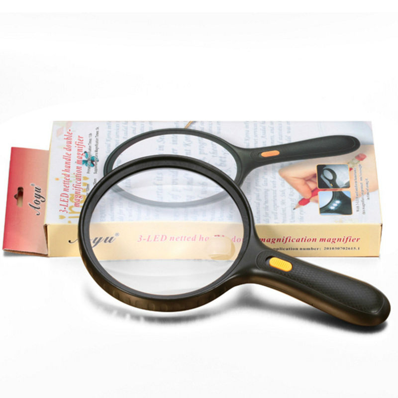 Large Lens 138 mm 1.8X 5X Illuminated Magnifier Double-magnification Magnifying Glass with 3 LED for Reading Aid Loupe led 3 5x