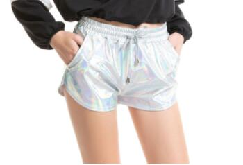 Women's Hot Shorts Shiny Metallic Shorts With Elastic Drawstring Booty Shorts Bottoms For Club Dance Raves Festivals Cos