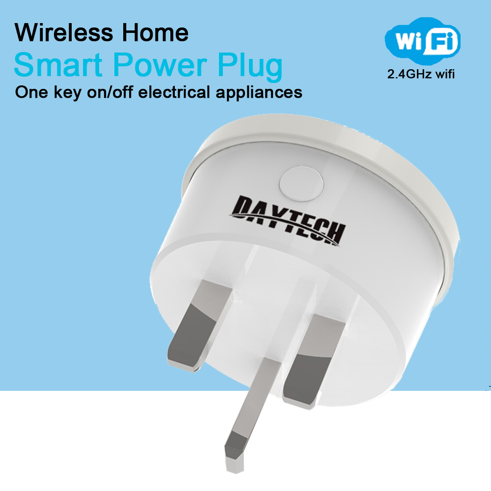DAYTECH Wireless Smart WiFi Plug Outlet Power adapter Electronics Free APP remote control Smart Home Automation UK plugDAYTECH Wireless Smart WiFi Plug Outlet Power adapter Electronics Free APP remote control Smart Home Automation UK plug