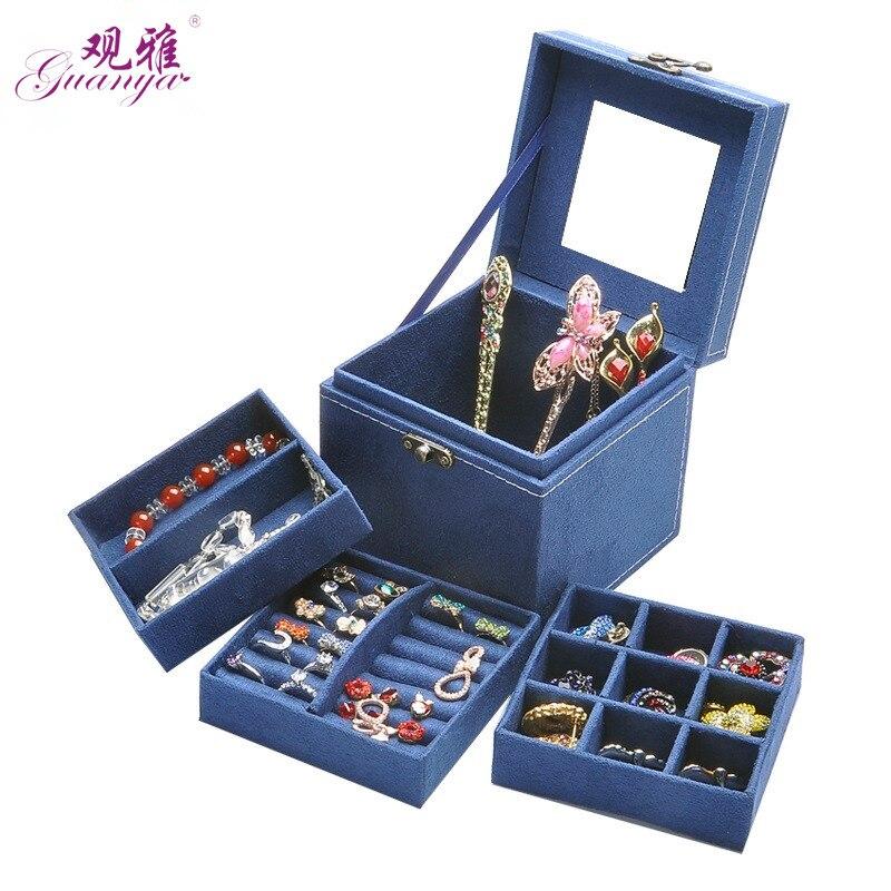 Koreanischen Stil Edition Von Kaninchen Haar Drei Schichten Deer Flanell Schmuck Box/Schmuck Fall/Lagerung Samt Box Zehn farben Optional
