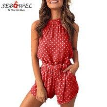 цена на SEBOWEL Polka Dot Print Backless Playsuits Women Summer Female Sleeveless Halter Neck Pocket with Belt Shorts Jumpsuit Rompers