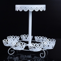 White Iron Cupcake Dessert Cake Stand Platter Stand Display Rack Birthday Party Events Catering Serving Tools