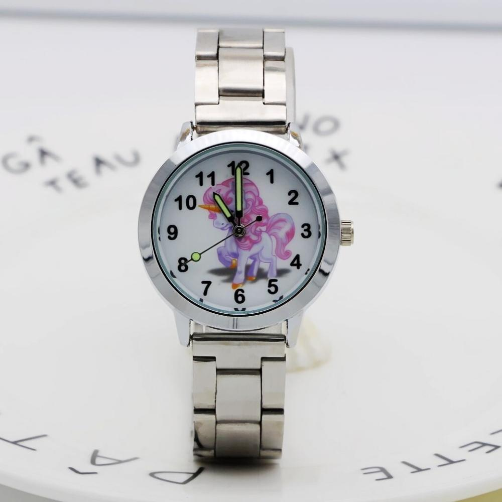 New Fashion Women Stainless Steel Watch Girls Boys Lovely Unicorn Quartz Watch Cartoon WristWatches Clock Femininos Montre Femme