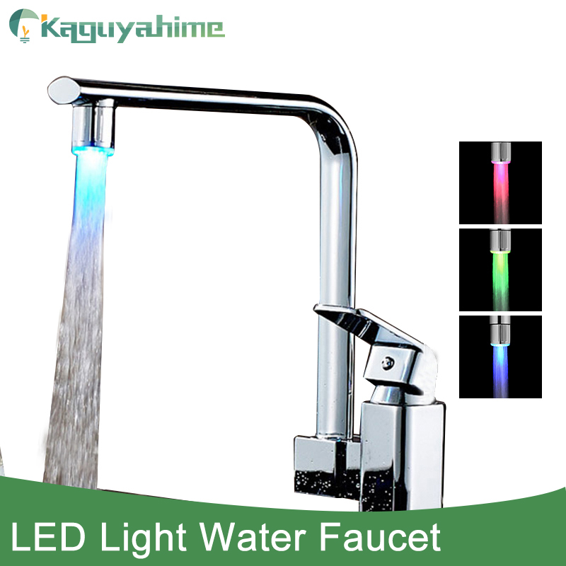 Kaguyahime New 3Color LED Light Change Faucet Shower Water Tap Temperature Sensor Levert Dropship Water Faucet Universal Adapter