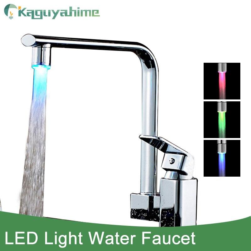 Kaguyahime novo 3 cor led mudança de luz torneira do chuveiro água sensor temperatura da torneira levert dropship adaptador universal