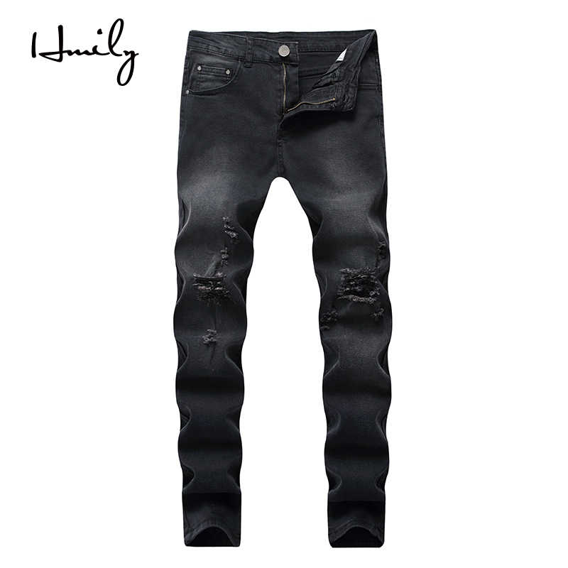 HMILY Skinny Black Jeans Men Summer Vintage Denim Pencil Pants Casual Stretch Trousers Sexy Hole Ripped Male Zipper Jeans