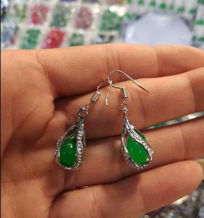 Hand Inlay Natural Green Jade Necklace Pendant earrings Set AAA Top Grade
