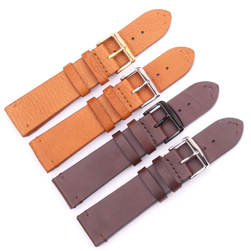 HENGRC Genuine Leather Watchband 18mm 20mm 22mm Light Brown Dark Brown Retro Watch Band Strap With Steel Buckle Spring Bar