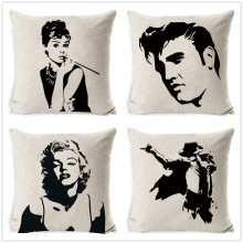 Fokusent 18'' Square Elvis Presley Cotton Linen Cushion Cover Marilyn Monroe Audrey Hepburn Pillow Case Home Decor(China)