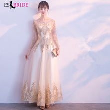 Gorgeous Gold Printing Formal Evening Dresses for Women Elegant 2019 New Arrival Dress A-line Lace Gown ES1169