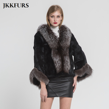 Womens Fur Jacket Fashion Real Rabbit Coat With Silver Fox Collar Winter Thick Warm High Quality Outerwear S7354