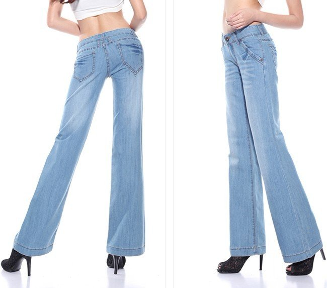Spring Autumn Wide Leg Denim Pants Casual Bell Bottom Jeans Straight Loose Plus Size Speaker Boot