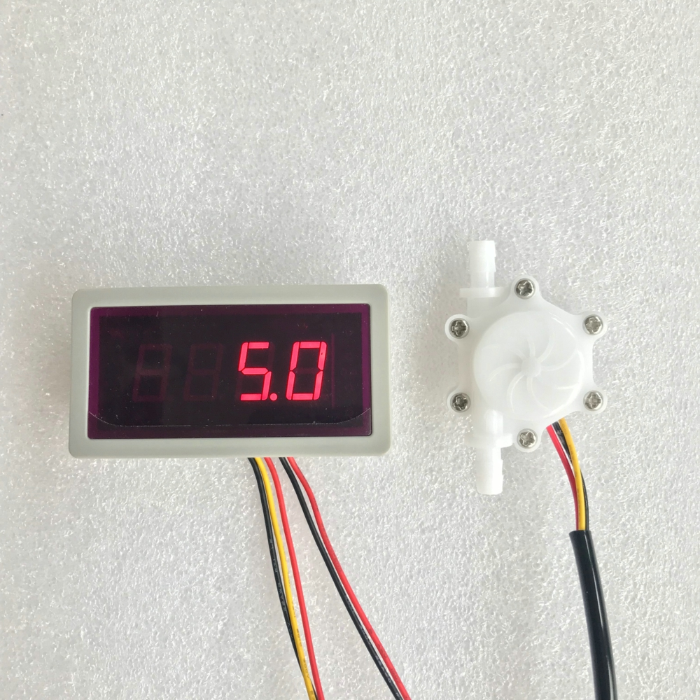 سنسور جریان US208MA + USN-HS06PA-1 0.15-1.5L / min سنسور جریان سنج و سرعت جریان هشدار نمایش تعداد فرکانس برای سنسور جریان آب