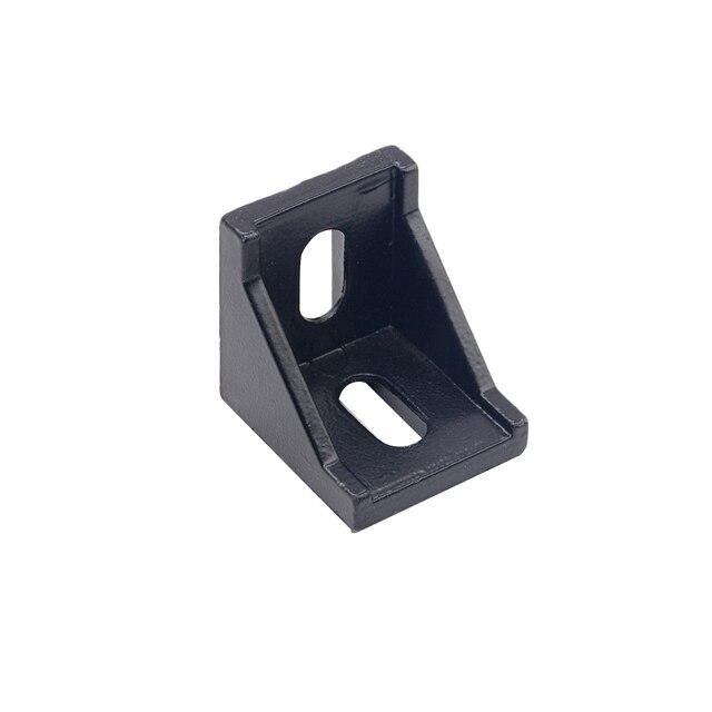 10pcs Aluminum 2020 Corner Bracket Fittings Corner Angle Bracket Connector 2028 3030 Aluminium Profile Black color CNC Router