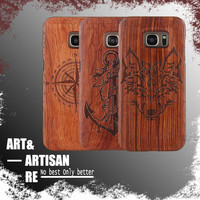 Karstadt Hot RoseWood LOGO WOLF Bamboo Wooden Case For Samsung GALAXY S7 S6 Edge Plus S5
