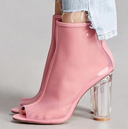 Fashion High Block Heels Transparent Ankle Boots Pink Leather Peep Toe PVC Gladiator Sandal Bootie For Women Sexy Dress Shoes dijigirls women pumps ankle boots pvc clear block high heel transparent gladiator sandals high top bootie perspex peep toe shoes