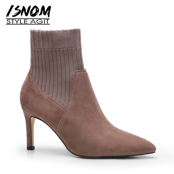 ISNOM High Heels Women Ankle Boots Pointed Toe Footwear Stretch Female Boot Kid Suede Fashion Knitted Shoes Woman Spring 2019
