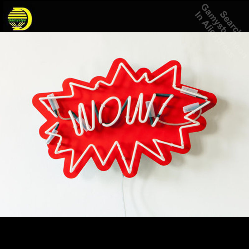 Neon Sign for WOW Pop Art Neon Bulb sign handcraft Handmade neon signboard personalized post war consumer boom with board image