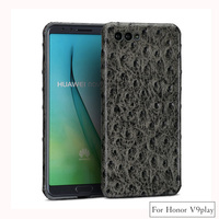 LANGSIDI All handmade genuine leather ostrich texture For Huawei Honor V9play Comfortable touch PC hard shell phone case
