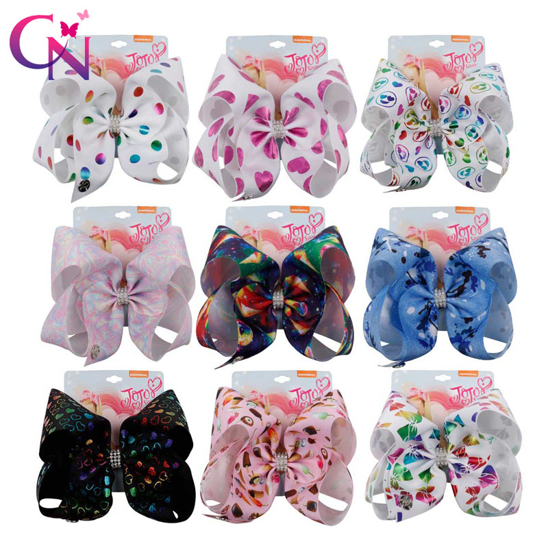 "7 "" Jojo Bows For Girls /Jojo Siwa Large Unicorn Christmas Hair Bows For Girls With Clips Bowknot Handmade Hair Accessories(China)"