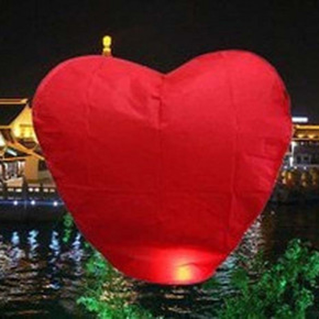 10pcs Red Paper Heart Chinese Lanterns Wishing Lamp Fly in Sky Lantern for Valentine's Day Wedding Party Decoration