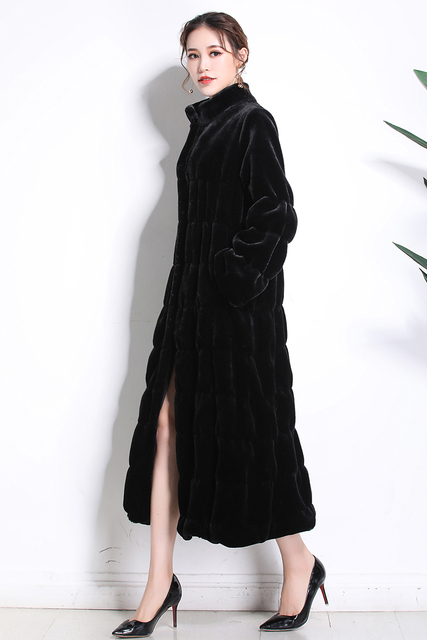 Nerazzurri Runway faux fur coats 2019 women winter long fake fur black Pleated plus size sheared mink fur overcoat 5xl 6xl 7xl