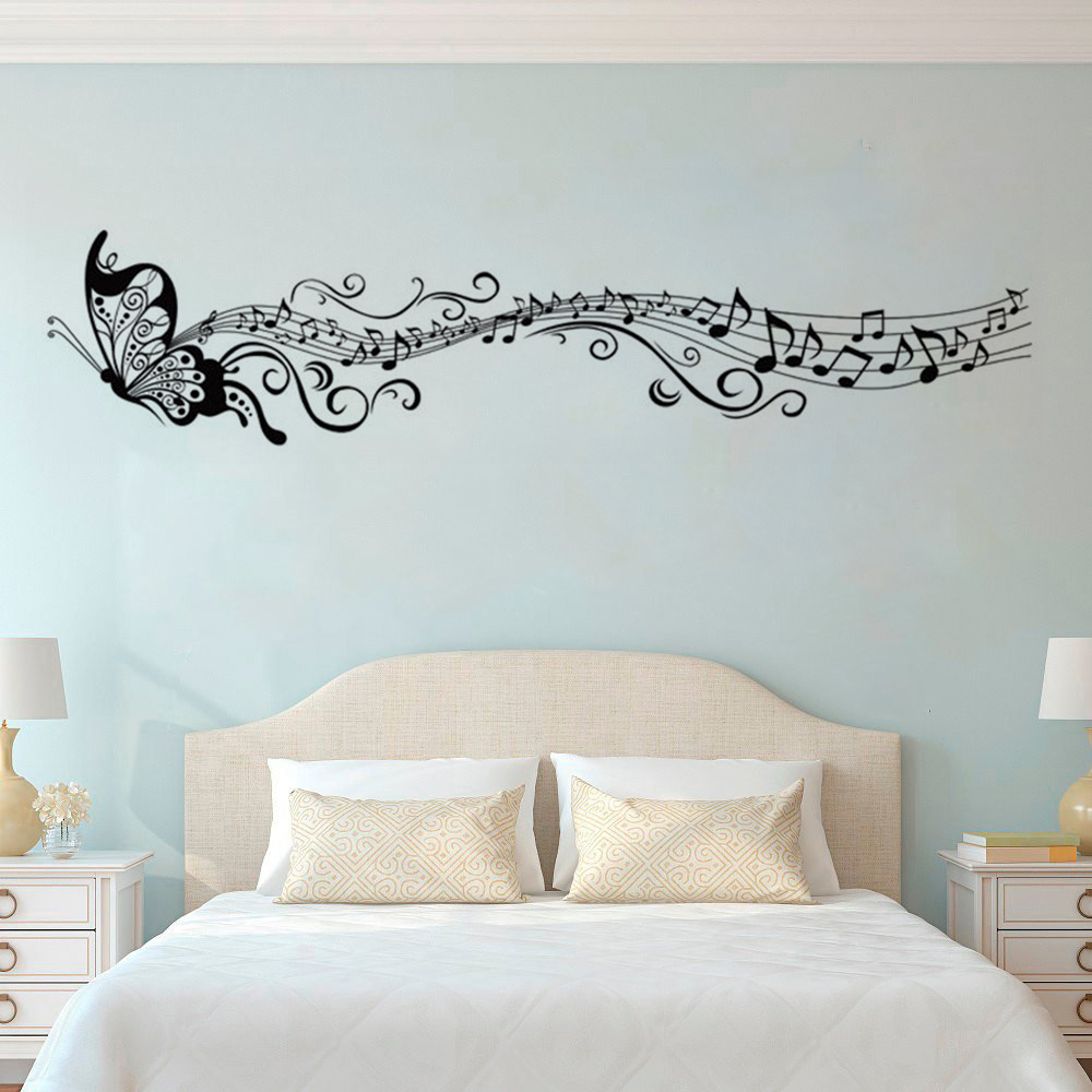 Large music notes wall decal removable butterfly wall stickers home livingroom decor vinyl music - Music note wallpaper for walls ...