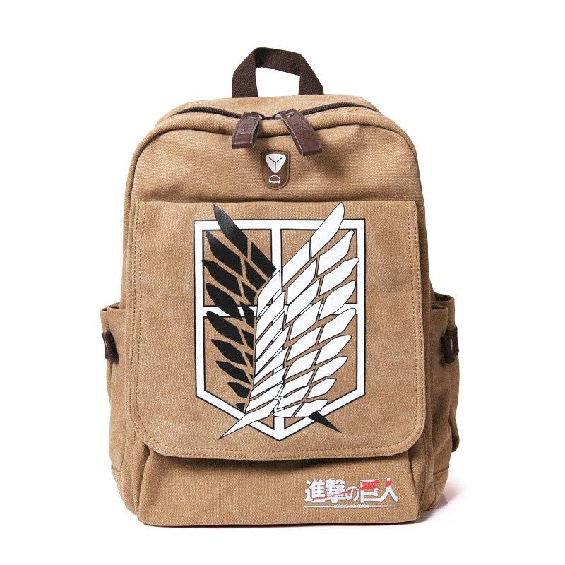 Attaque sur Titan sac à dos hommes femmes toile japon Anime impression sac d'école pour adolescents sacs de voyage Mochila galaxy ia BP0153