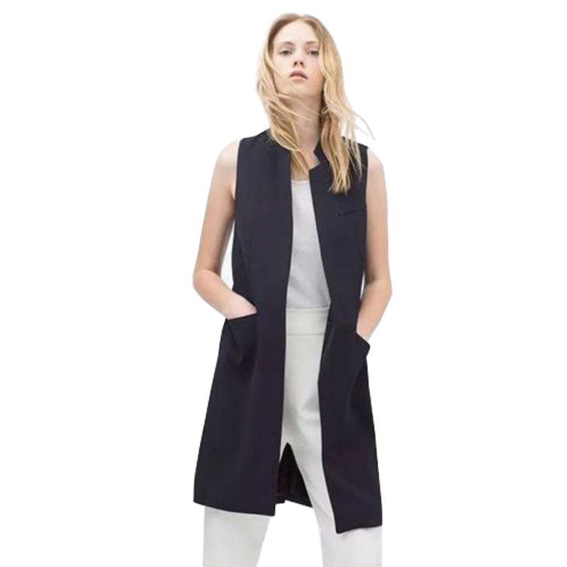 VESTLINDA Long Vest Back Split Outwear Waistcoats Women White Black Jacket Coat Sleeveless Cardigan Pocket Blazer Vest Femme Top 4