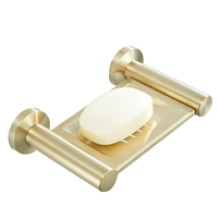 Leyden Bathroom Brushed Gold Solid Soap Dish,Stainless Steel Wall Mounted Soap Holder with Draining Tray Round
