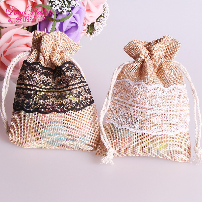 50Pcs/lots Classical Natural Jute Burlap Drawstring Bag Jewelry Gift Candy Bags Home Decoration Wedding Party Decoration Supply